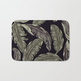 palm leaves black Bath Mat