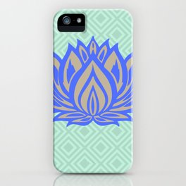 Lotus Meditation Mint Blue Throw Pillow iPhone Case