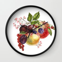 Composition of realistic fruits on a white background in vintage style. Apples, raspberries, plums, Wall Clock