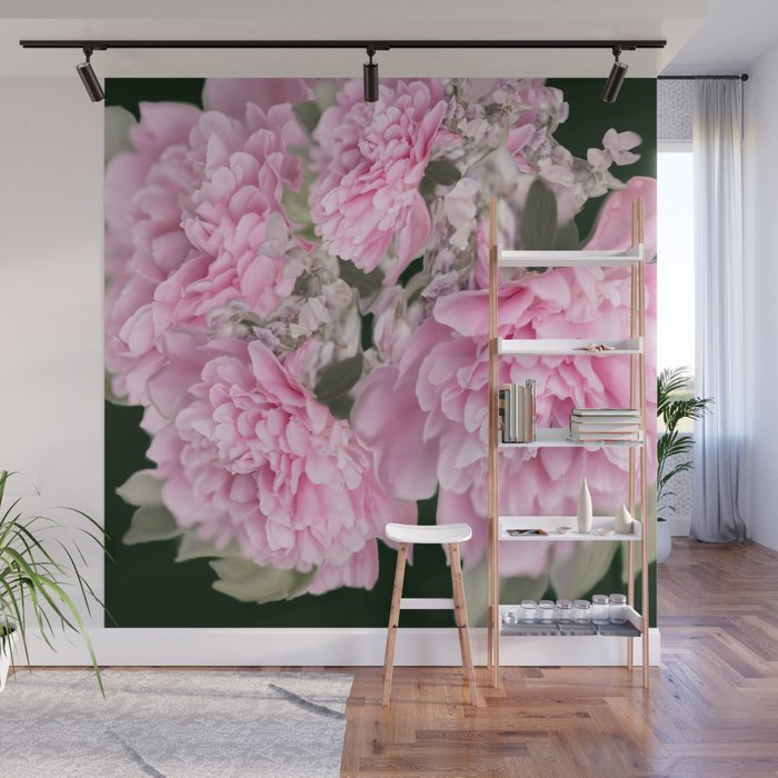 Pink Bouquet On A Black Background #decor #society6 #buyart Wall Mural