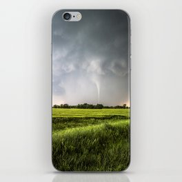 White Tornado - Twister Emerges from Rain Over Field in Kansas iPhone Skin