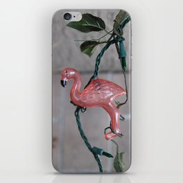 Hang in There Pink Flamingo on a Light String iPhone Skin