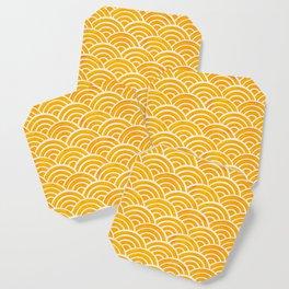 Japanese Seigaiha Wave – Marigold Palette Coaster