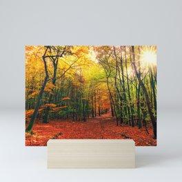 Serene Autumn Forest landscape Mini Art Print