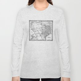 Vintage Map of Texas (1856) BW Long Sleeve T-shirt