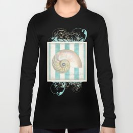 Greek Key Nautilus Seashell Botanical Shell w Striped Pattern Long Sleeve T-shirt