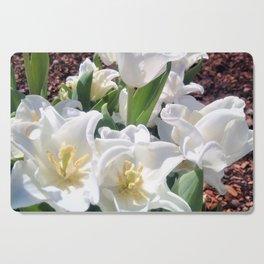 Creamy White Meringue Flowers Cutting Board
