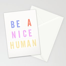 Be a Nice Human - Neon Sign Stationery Cards