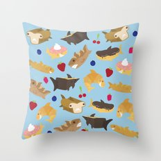 Shark Loafs - Blue Throw Pillow