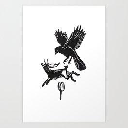 Bird. Deer. Rose. Art Print