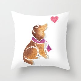 Watercolour Shetland Sheepdog Throw Pillow