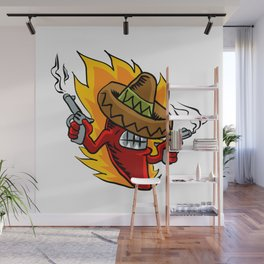 Mexican red chili pepper with guns. Wall Mural