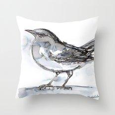 Bird with Heart Echo, Watercolor Throw Pillow