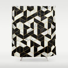 Black and White Marble Hexagonal Pattern Shower Curtain