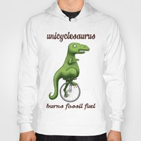 pocket fuel Hoodies featuring Unicyclesaurus: Burning Fossil Fuel by Nomadic Concepts/Julia Shahin Collard