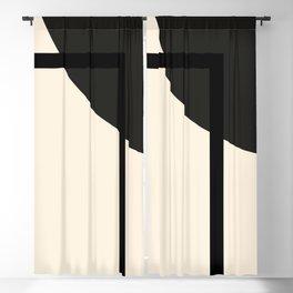 Fusion - Minimalist Geometric in Black and Almond Cream Blackout Curtain