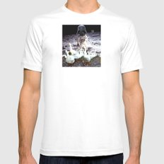 Goats Peter guards goose on the moon... White Mens Fitted Tee MEDIUM