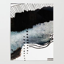 Closer - a black, blue, and white abstract piece Poster