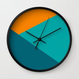 Jag - Minimalist Angled Geometric Color Block in Orange, Teal, and Turquoise Wall Clock