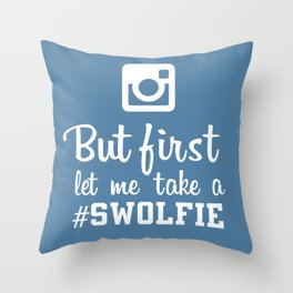 #swolfie Throw Pillow