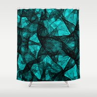 fibonacci Shower Curtains featuring Fractal Art Turquoise G52 by MEDUSA GraphicART