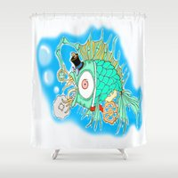 steam punk Shower Curtains featuring Whimsical Steam Punk Fish by J&C Creations