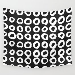 Pattern with hand-drawn ink, painted circles Wall Tapestry