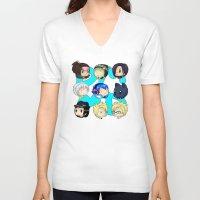 dmmd V-neck T-shirts featuring DMMD- chibis by prpldragon