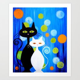 Fancy Cats Art Print