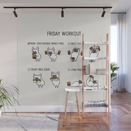 Friday Workout with French Bulldog Wall Mural