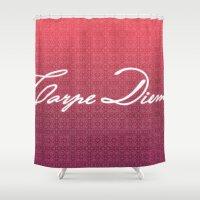 carpe diem Shower Curtains featuring Carpe Diem. by saramilie