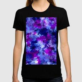 Modern blue purple watercolor brushstrokes paint T-shirt