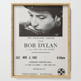 Vintage 1961 Bob Dylan Carnegie Hall Folk Festival Concert Gig Poster Serving Tray