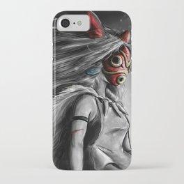 Miyazaki's Mononoke Hime Digital Painting the Wolf Princess Warrior Color Variation iPhone Case