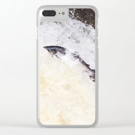 leaping salmon Clear iPhone Case