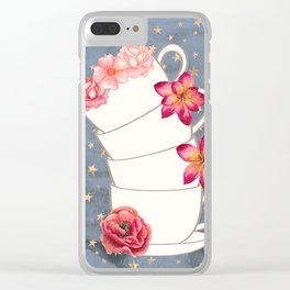 Floral Coffee Cups Clear iPhone Case