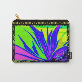 Colorful  Blue Tropical Foliage Black-Gold Color Abstract Carry-All Pouch