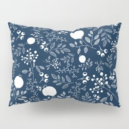 Blue and White Seamless Flower Pattern Pillow Sham