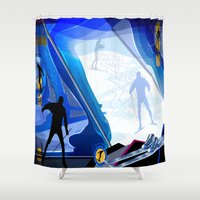 skiing Shower Curtains featuring Cross Country Skiing by Robin Curtiss