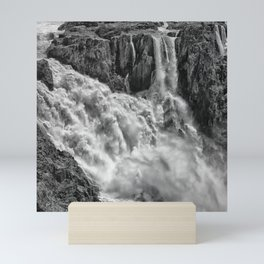 Black and White Beautiful Waterfall Mini Art Print