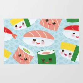 pattern Kawaii funny sushi rolls set with pink cheeks and big eyes, emoji Rug