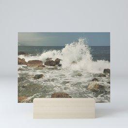 Summer waves. Retro Mini Art Print