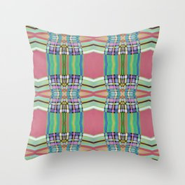 Coral Green Geometric Line Pattern Throw Pillow