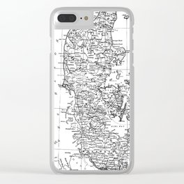 Vintage Map of Denmark (1905) BW Clear iPhone Case