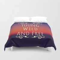 wiz khalifa Duvet Covers featuring Young Wild and Free by Josrick