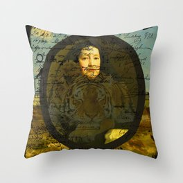 OLD WOMAN SLEEPING TIGER I Throw Pillow