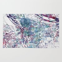portland Area & Throw Rugs featuring Portland map by MapMapMaps.Watercolors
