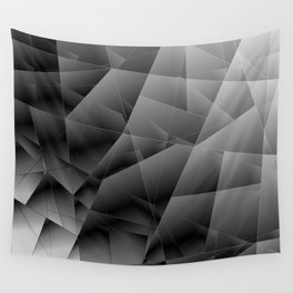 Metallic pattern of chaotic black and white fragments of glass, foil, highlights and silver plates. Wall Tapestry