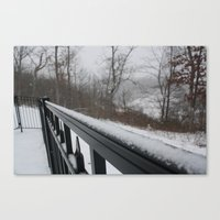 rileigh smirl Canvas Prints featuring Snowy Rail by Rileigh Smirl