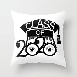 Class of 2020 Graduation Cap with Glasses Throw Pillow